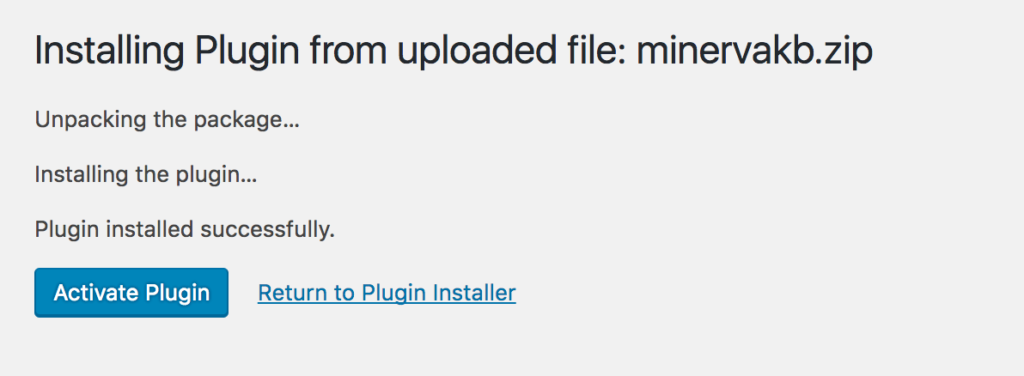 Plugin installation progress